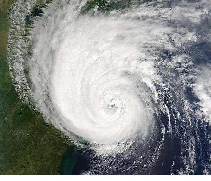A hurricane is shown from space