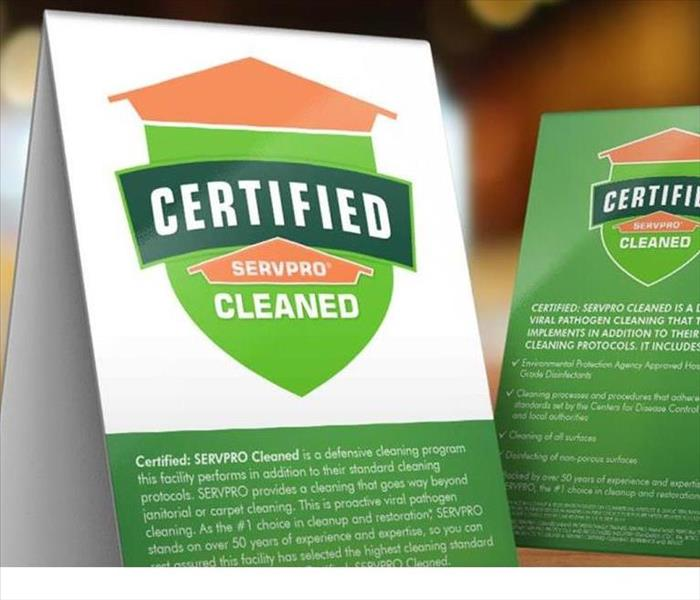 Restaurant Table Tops with Certified: SERVPRO Cleaned Signage