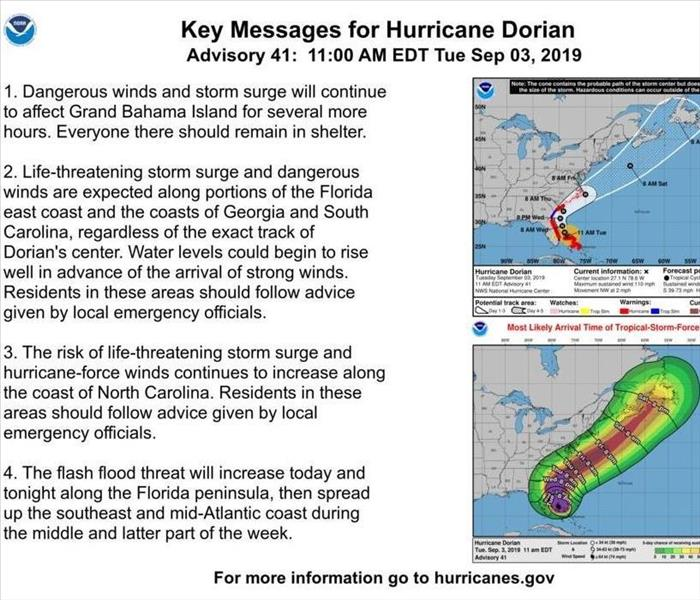 Update for Hurricane Dorian highlighting the risk of flash floods and life-treating storm surge across the east coast.