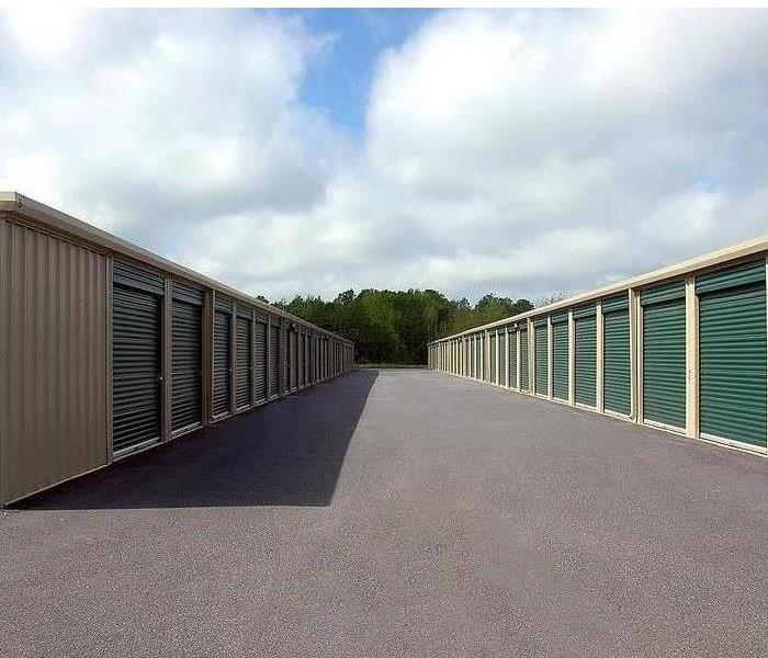 Two rows of storage units are shown